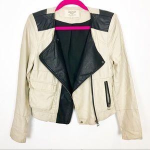 Zara Jacket | Blazer | Cream Canvas Black Leather